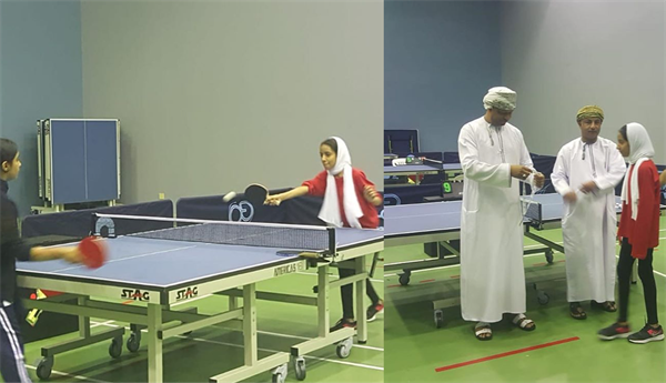 Student Sarah Bint Haider Al-Lawati won the third place/bronze medal in table tennis championship for private schools